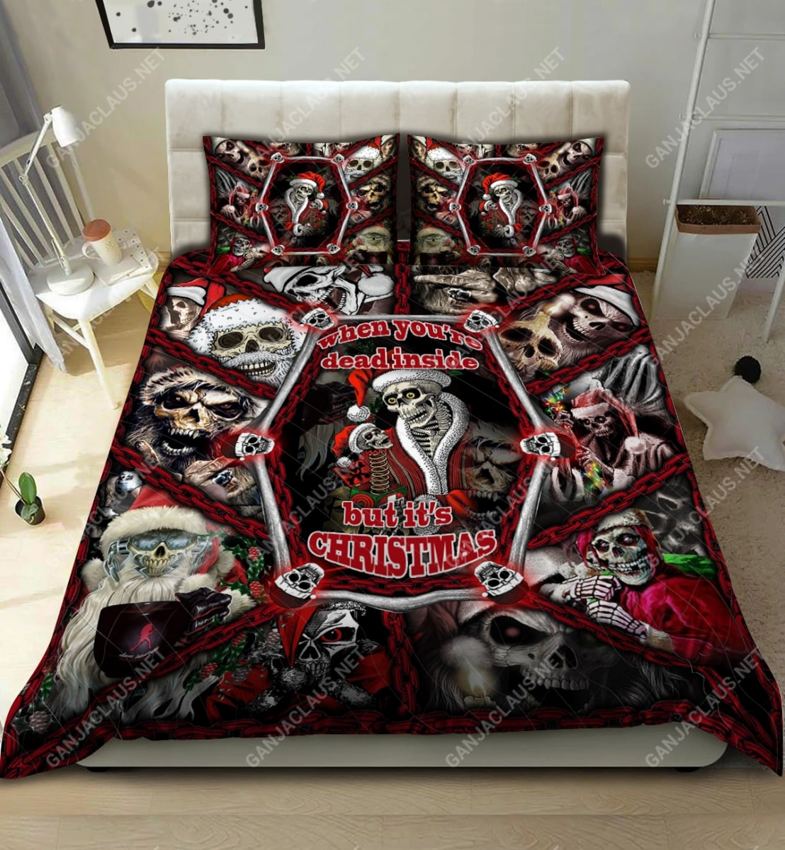 skull when youre dead inside but its christmas full printing bedding set 2