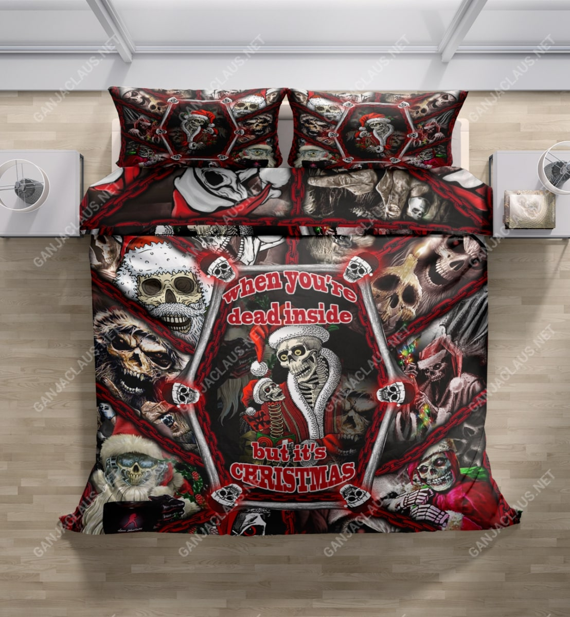 skull when youre dead inside but its christmas full printing bedding set 5