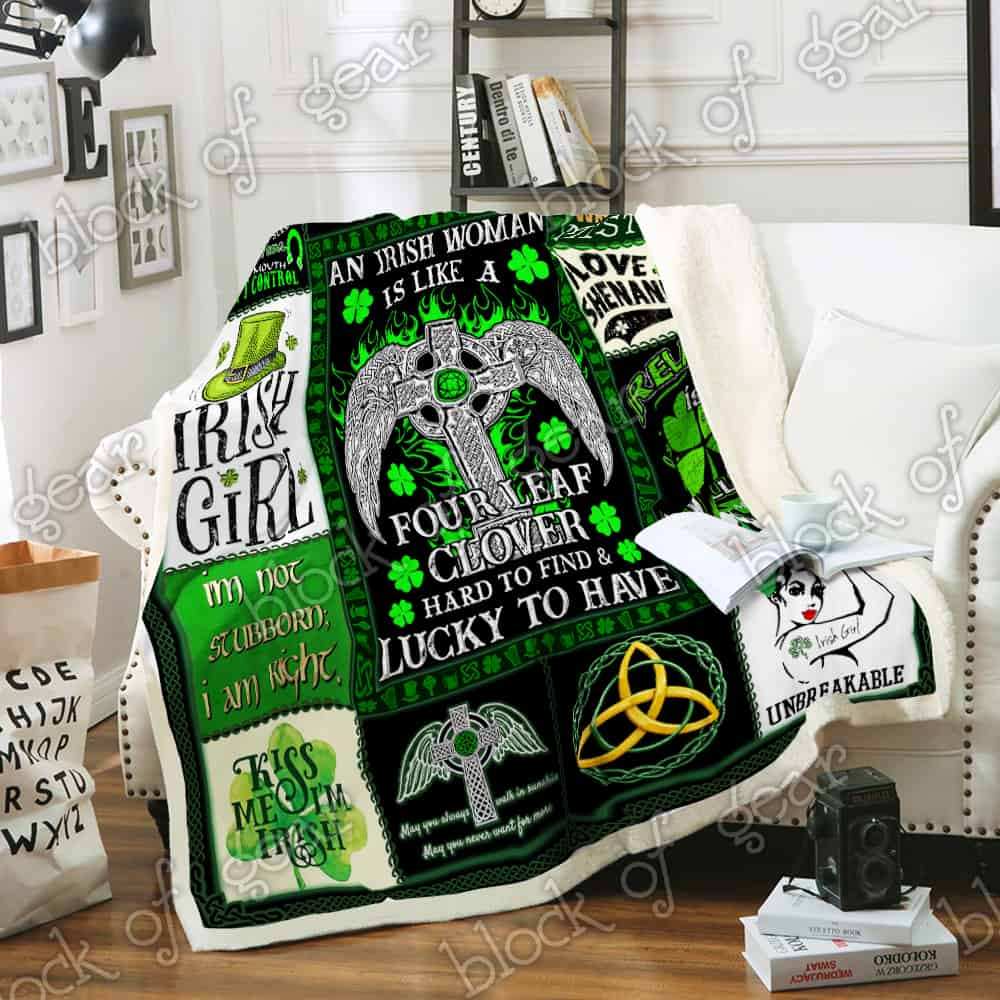 st patricks day an irish woman is like a four leaf clover all over printed blanket 2