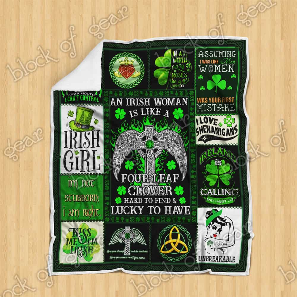 st patricks day an irish woman is like a four leaf clover all over printed blanket 3