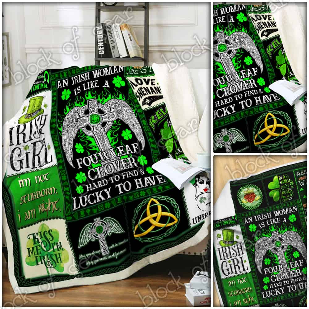 st patricks day an irish woman is like a four leaf clover all over printed blanket 4