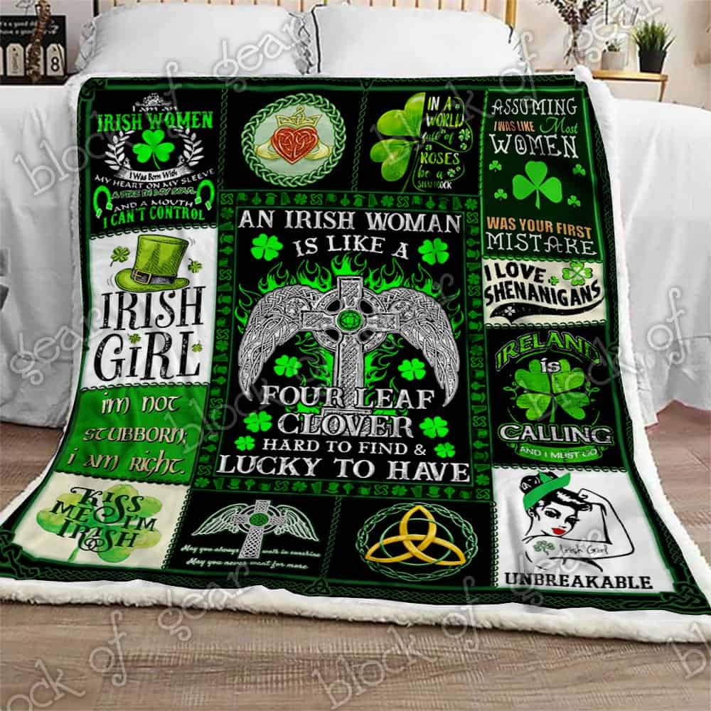 st patricks day an irish woman is like a four leaf clover all over printed blanket 5