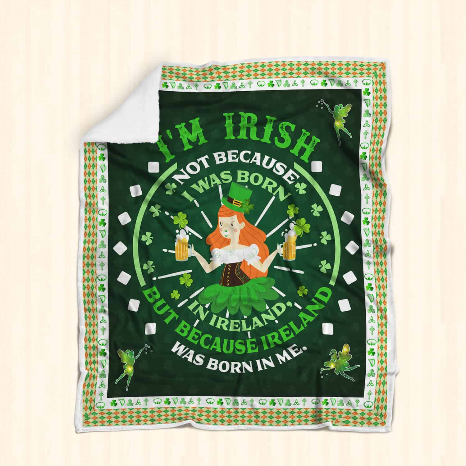 st patricks day ireland was born in me all over printed blanket 2