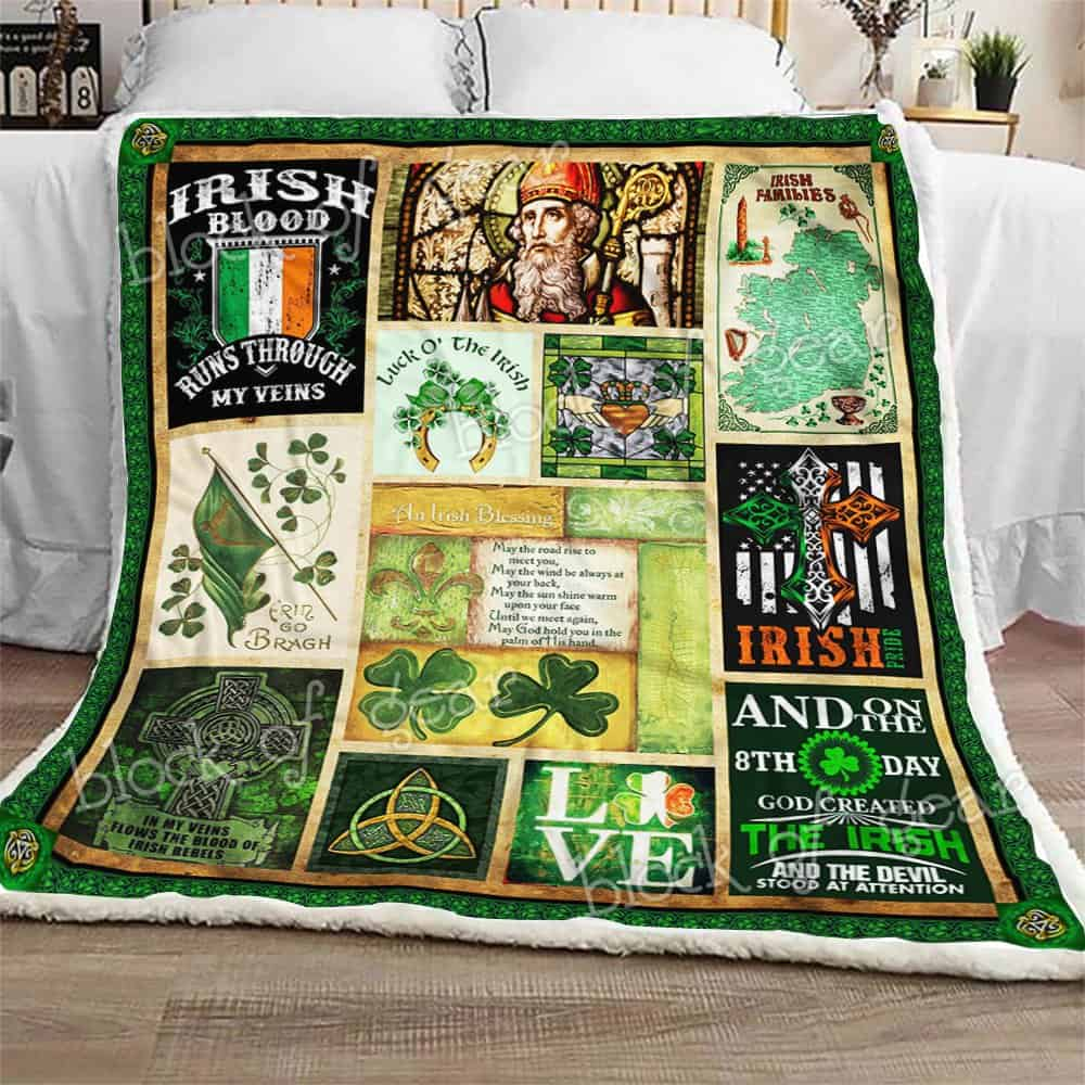 st patricks day irish blood runs through my veins all over printed blanket 2