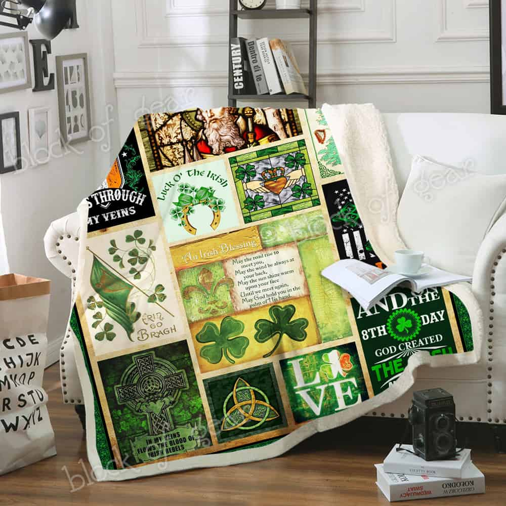 st patricks day irish blood runs through my veins all over printed blanket 4