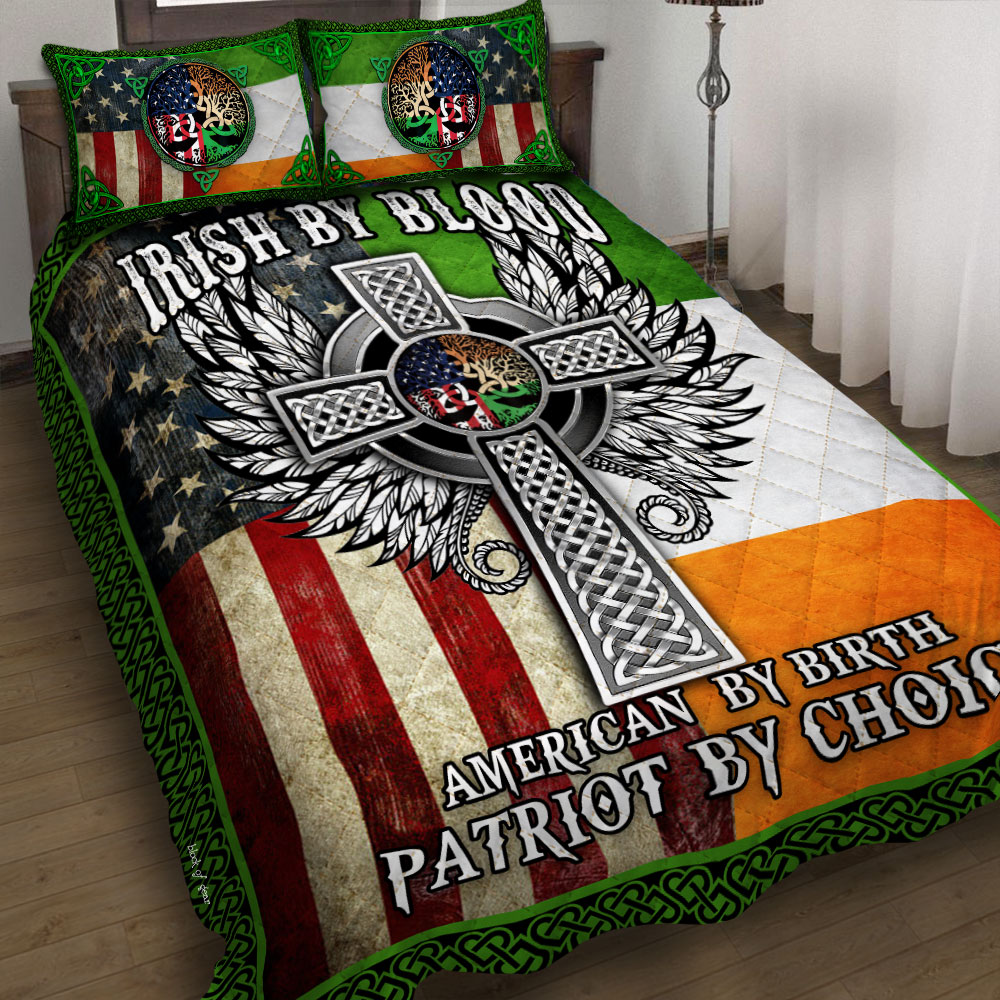 st patricks day irish by blood american by birth patriot by choice all over printed bedding set 2