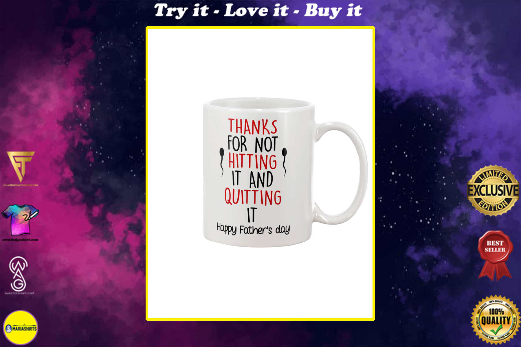 thanks for not hitting it and quitting it happy fathers day mug