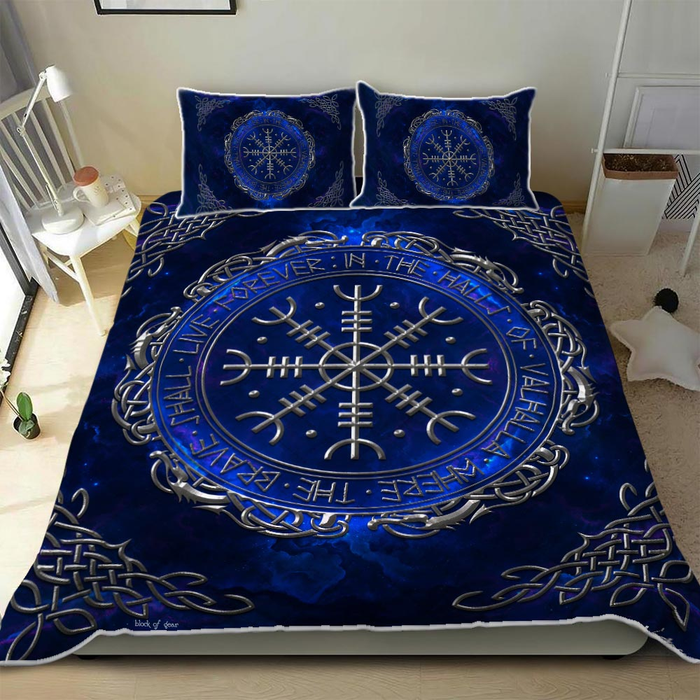 the helm of awe viking all over print bedding set 3
