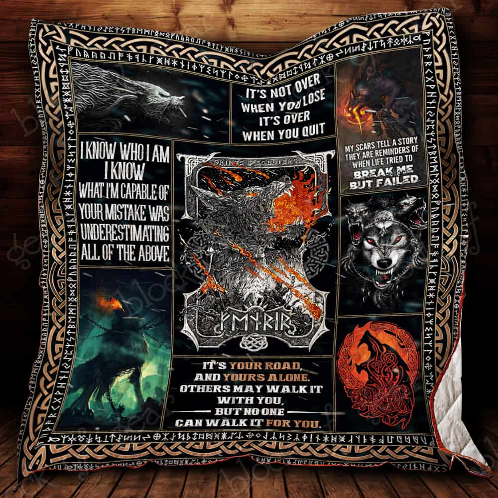the nordic monster fenrir viking all over printed quilt 2