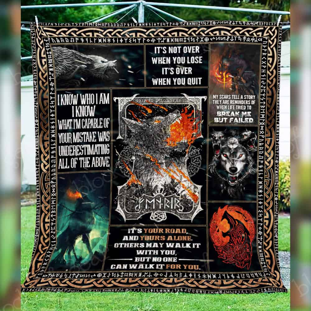 the nordic monster fenrir viking all over printed quilt 5