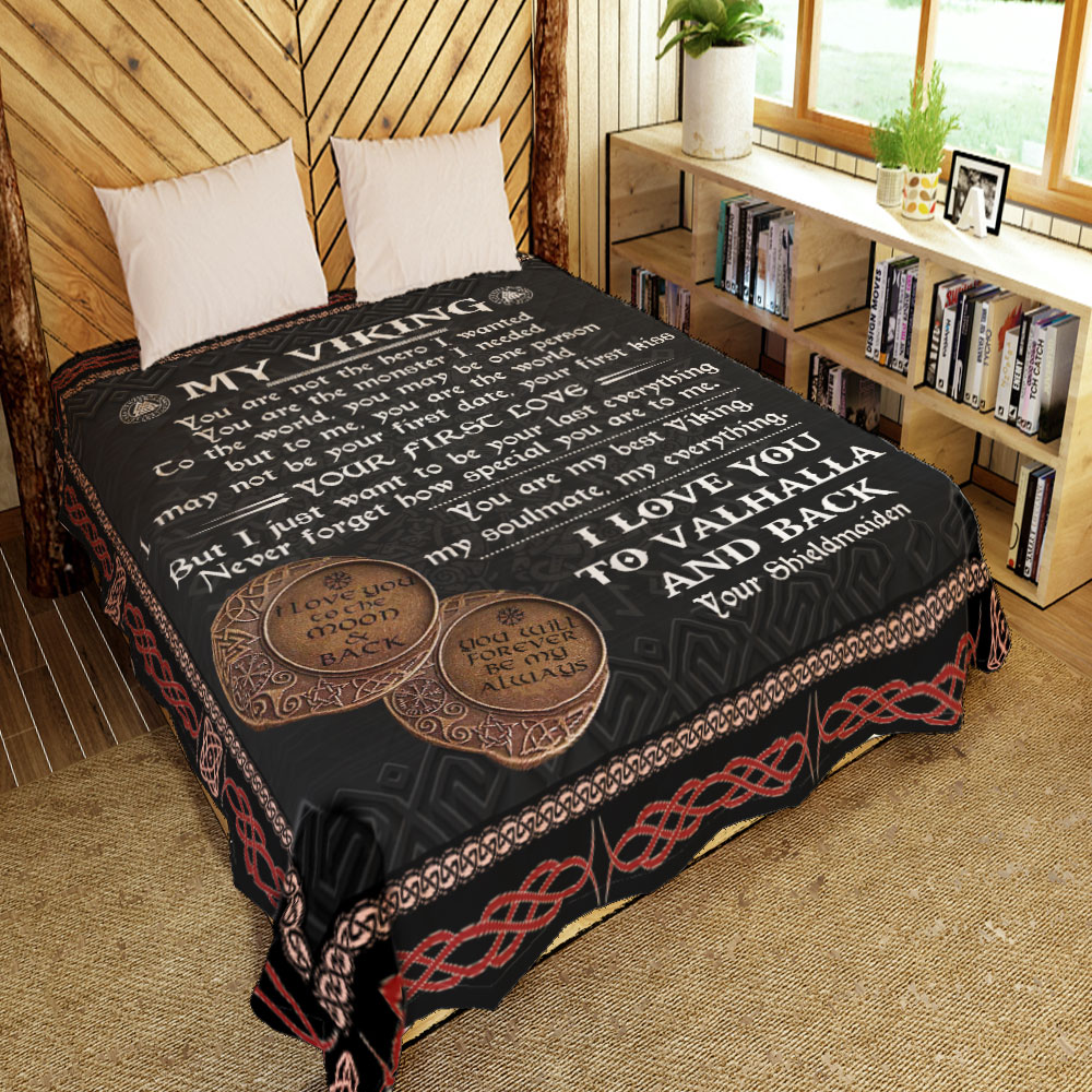 to my viking i love you to valhalla and back all over printed blanket 2