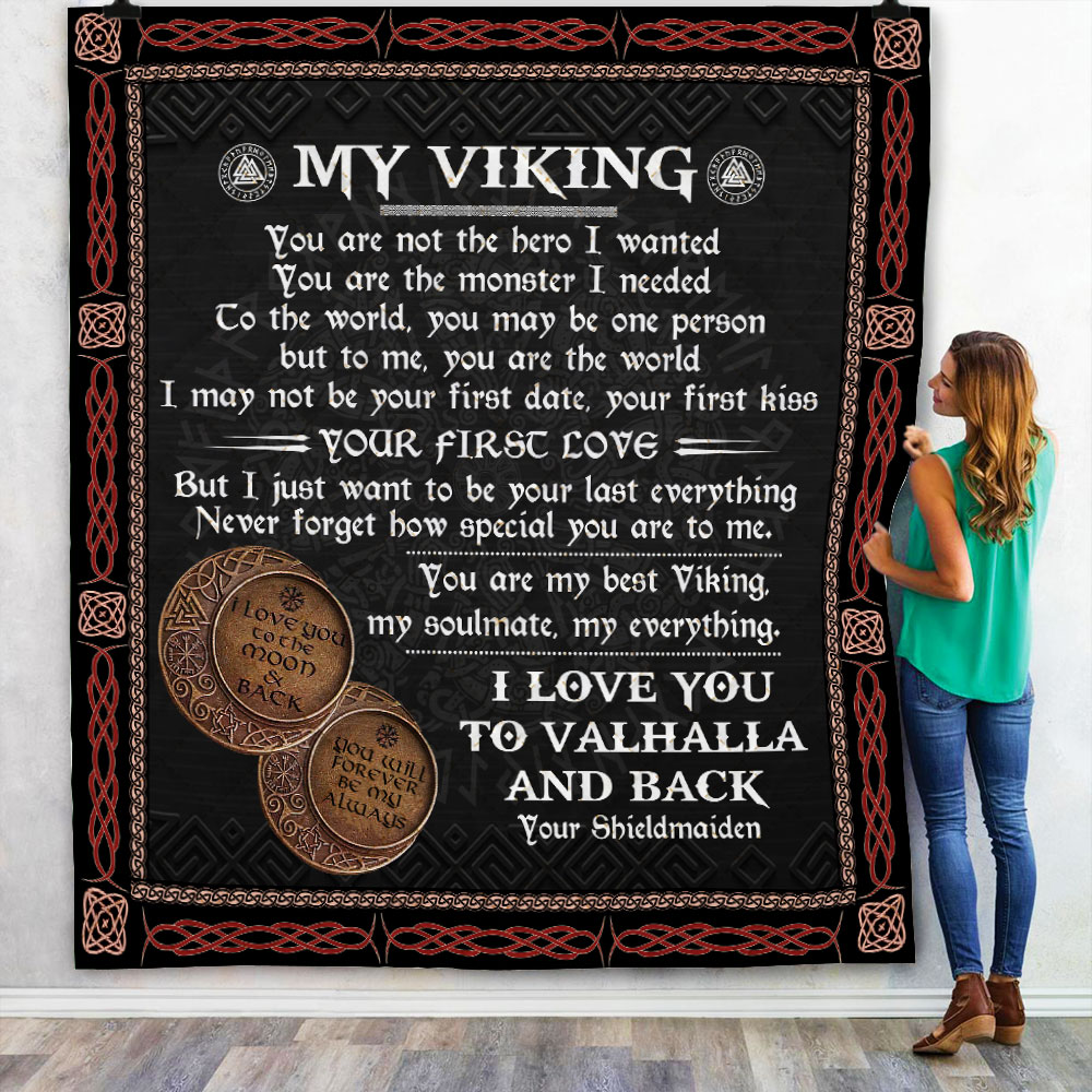 to my viking i love you to valhalla and back all over printed blanket 4