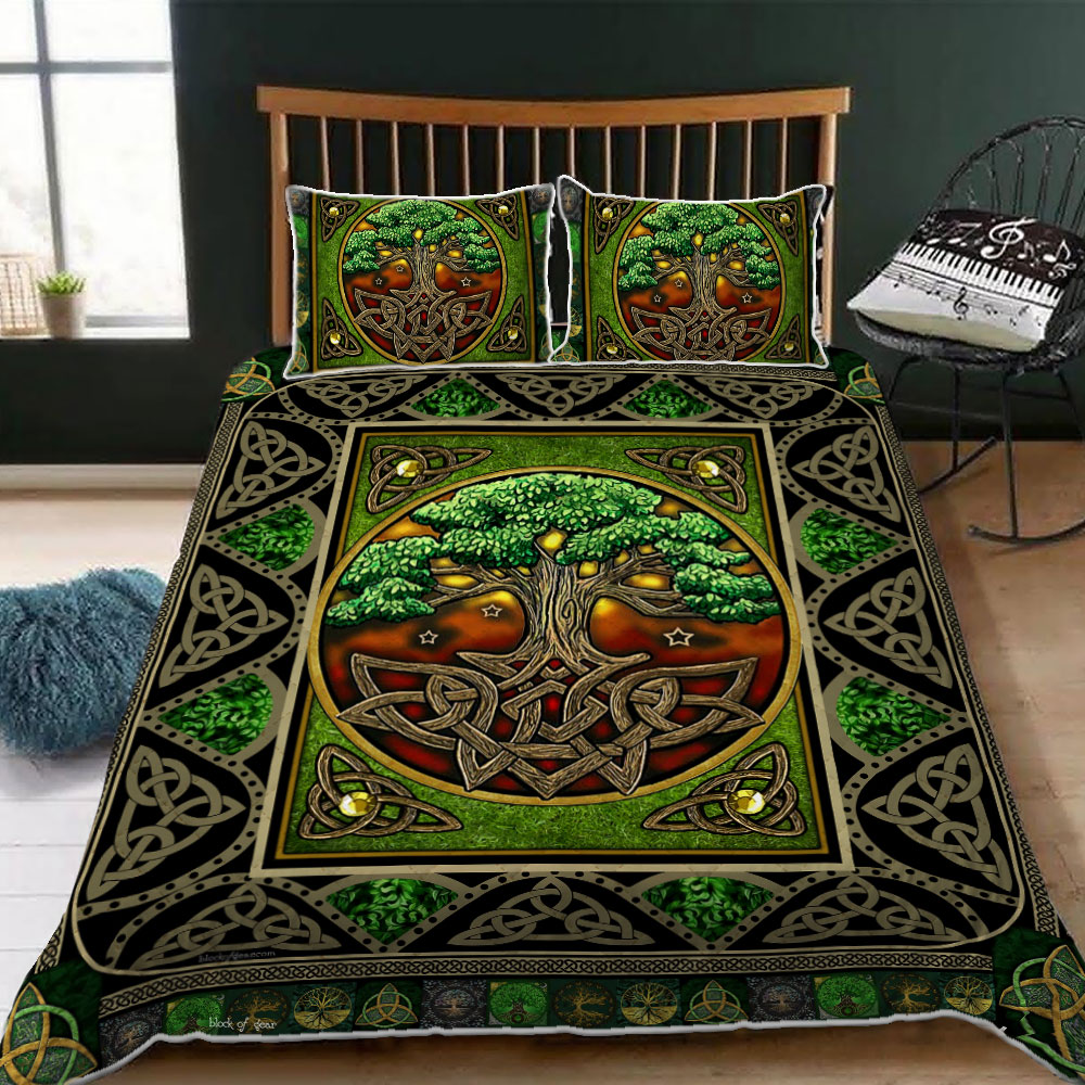 tree of life irish tree of life st patricks day all over printed bedding set 2