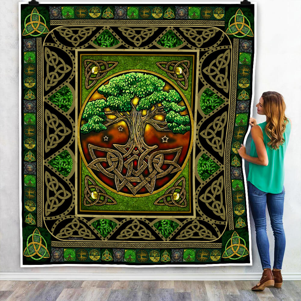 tree of life irish tree of life st patricks day all over printed quilt 2