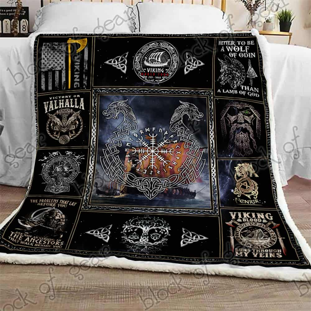 victory or valhalla ship raven tattoo viking blanket 2