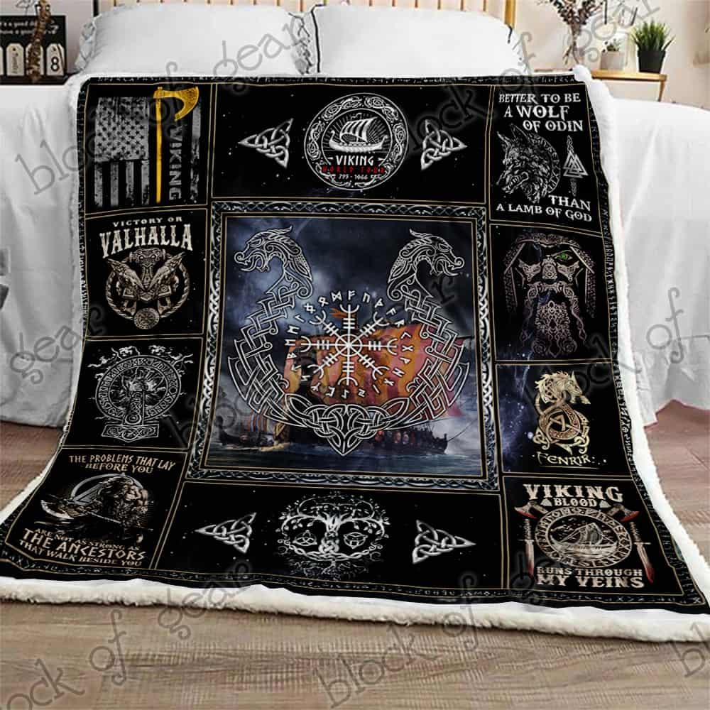 victory or valhalla ship raven tattoo viking blanket 2