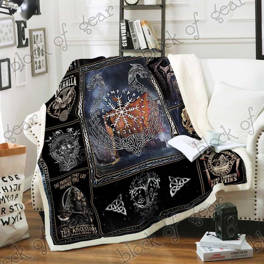 victory or valhalla ship raven tattoo viking blanket 3