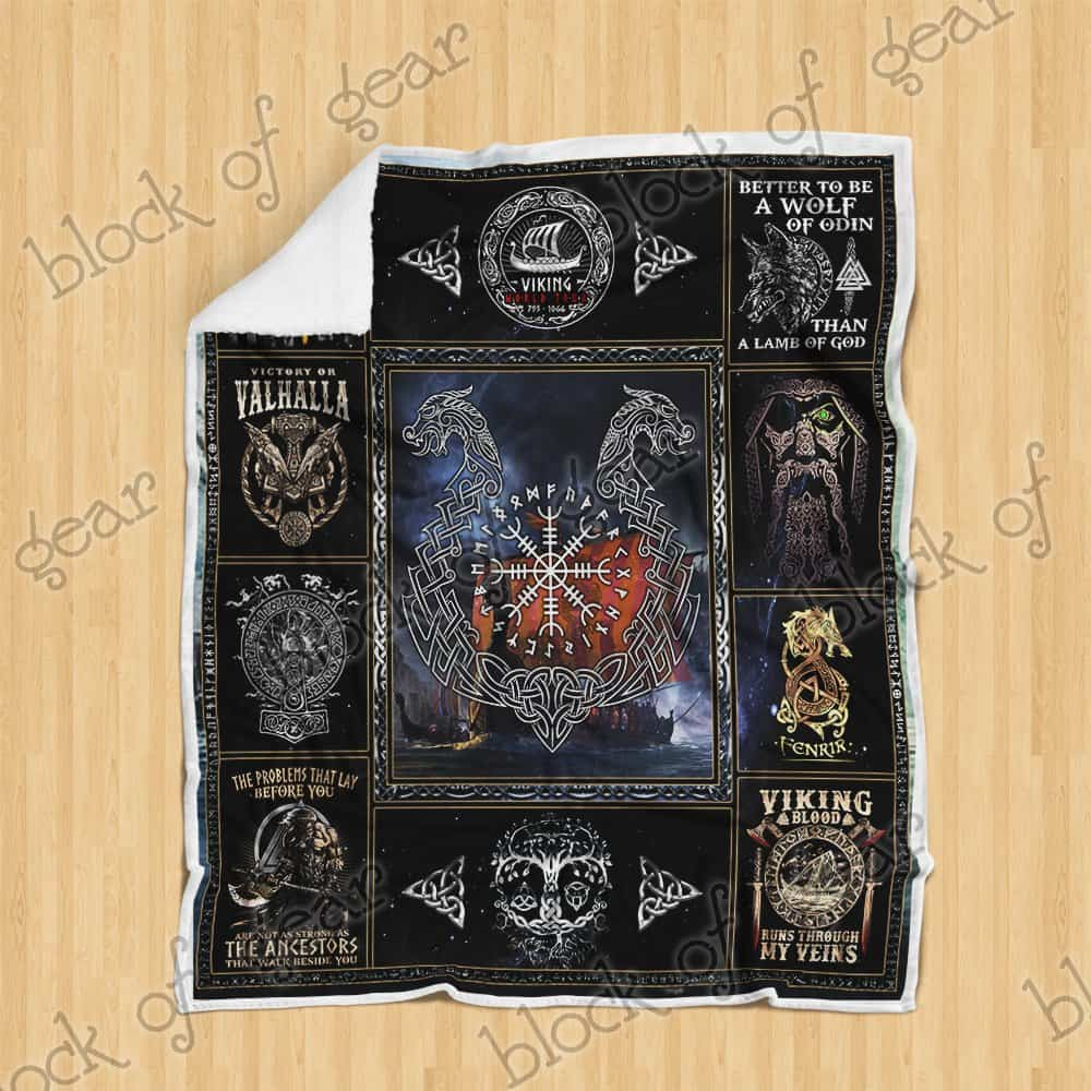 victory or valhalla ship raven tattoo viking blanket 4