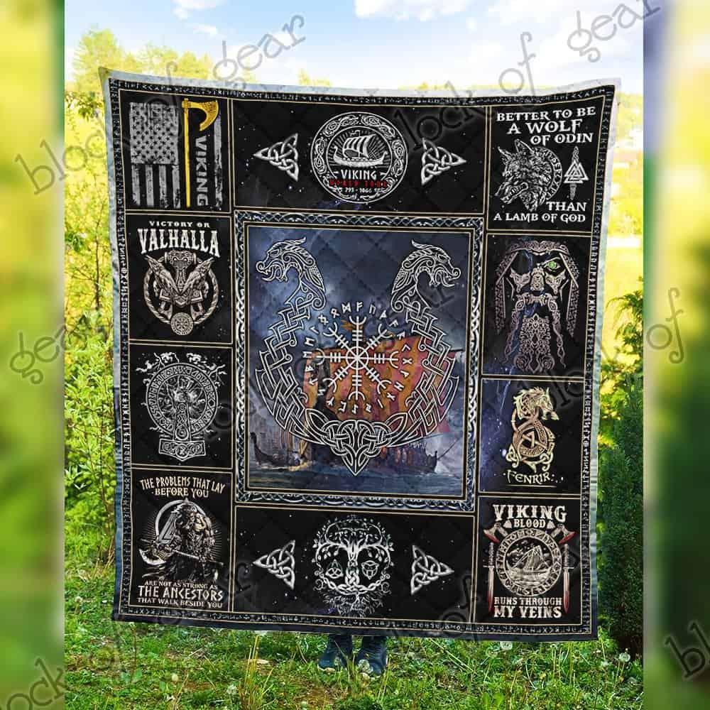 viking blood runs through my veins all over printed quilt 5
