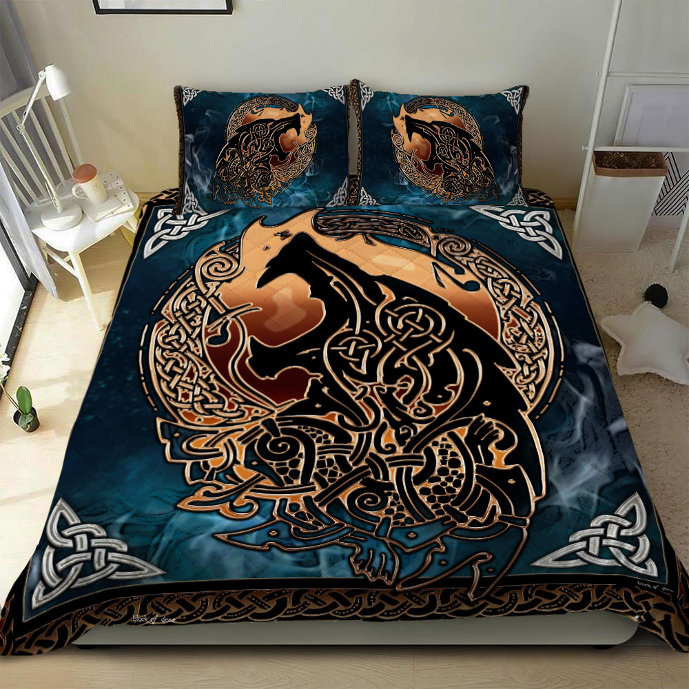 viking fenrir tattoo all over printed bedding set 2