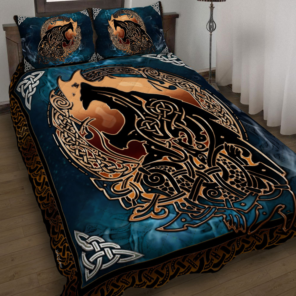 viking fenrir tattoo all over printed bedding set 5