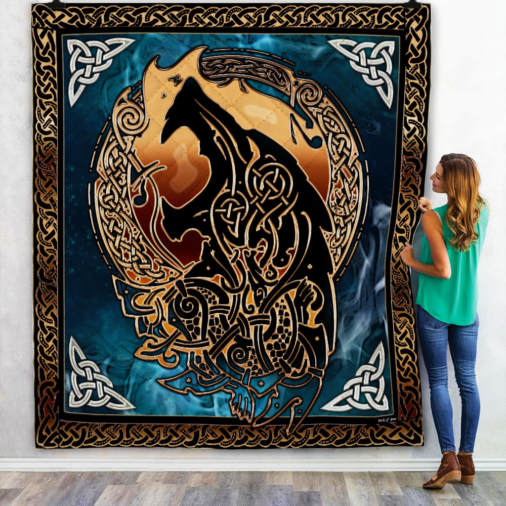viking fenrir tattoo all over printed quilt 2
