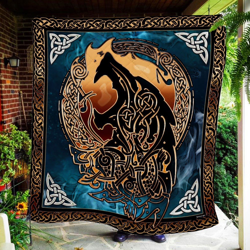 viking fenrir tattoo all over printed quilt 3