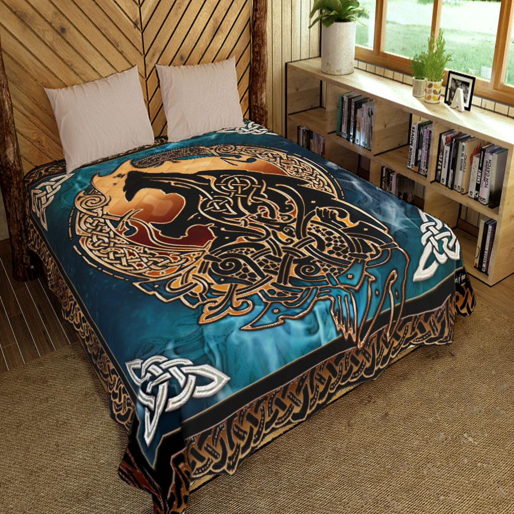 viking fenrir tattoo all over printed quilt 4