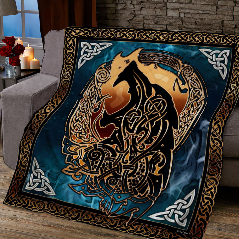 viking fenrir tattoo all over printed quilt 5
