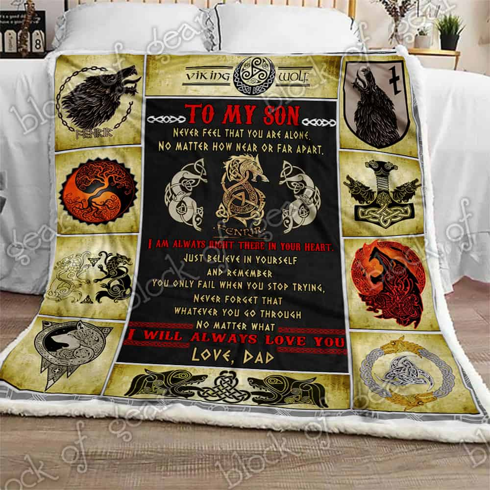 viking fenrir to my son never feel that you are alone love dad blanket 3
