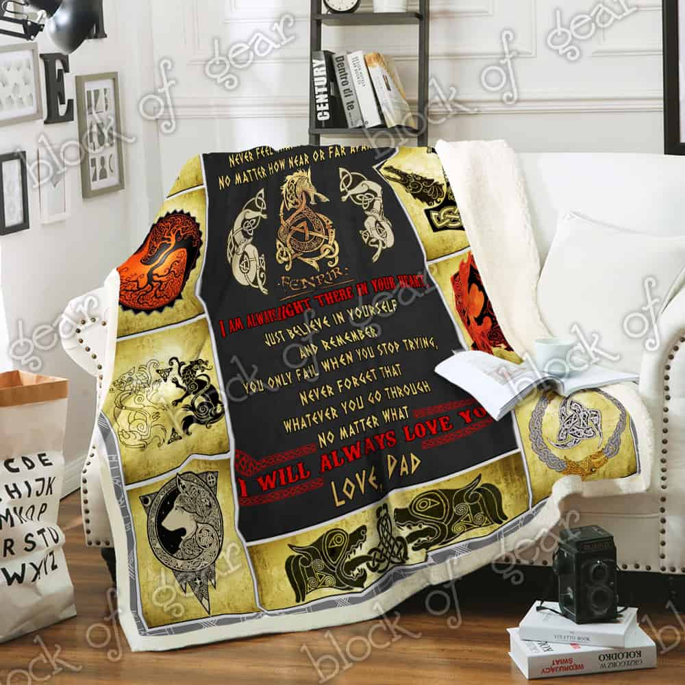 viking fenrir to my son never feel that you are alone love dad blanket 4