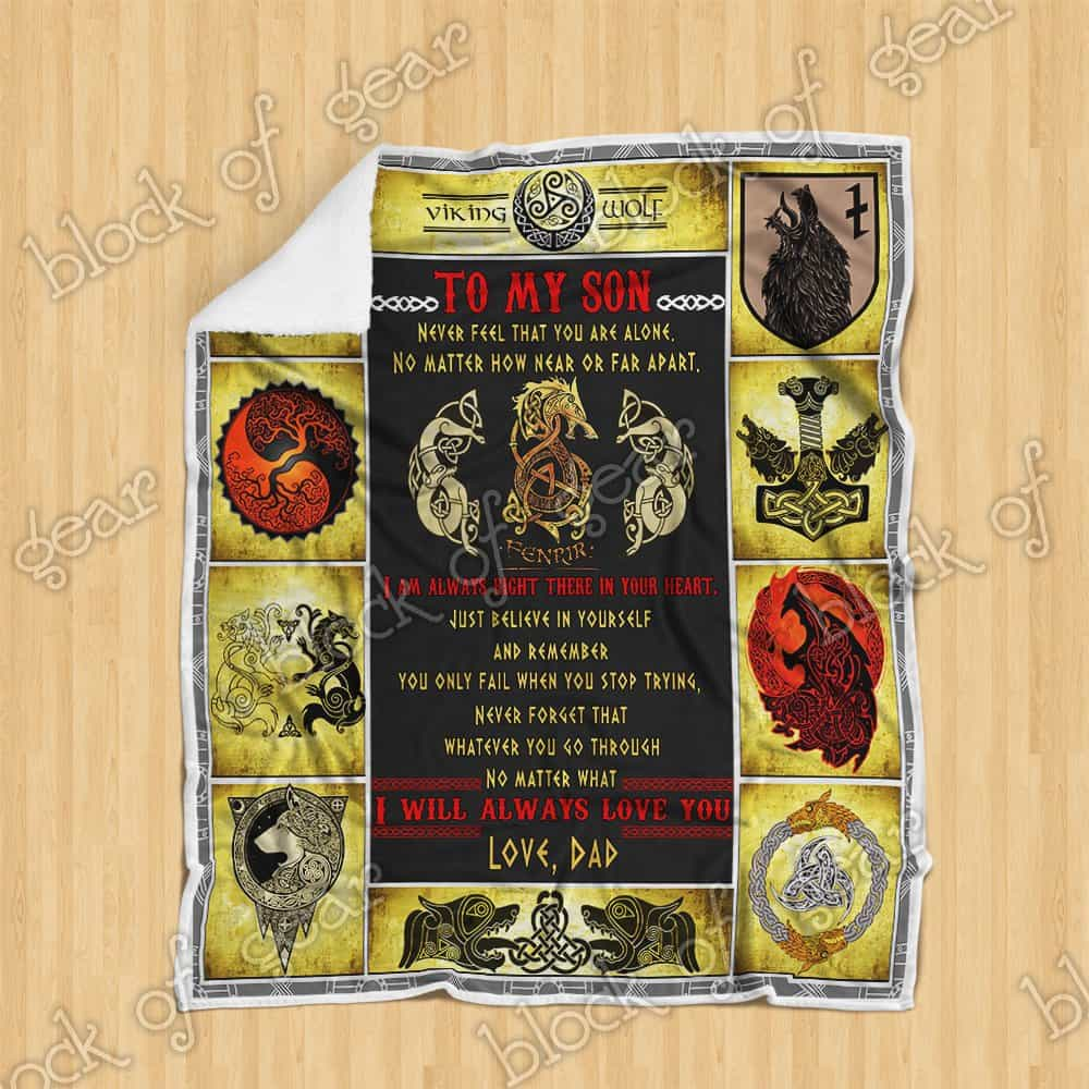 viking fenrir to my son never feel that you are alone love dad blanket 5