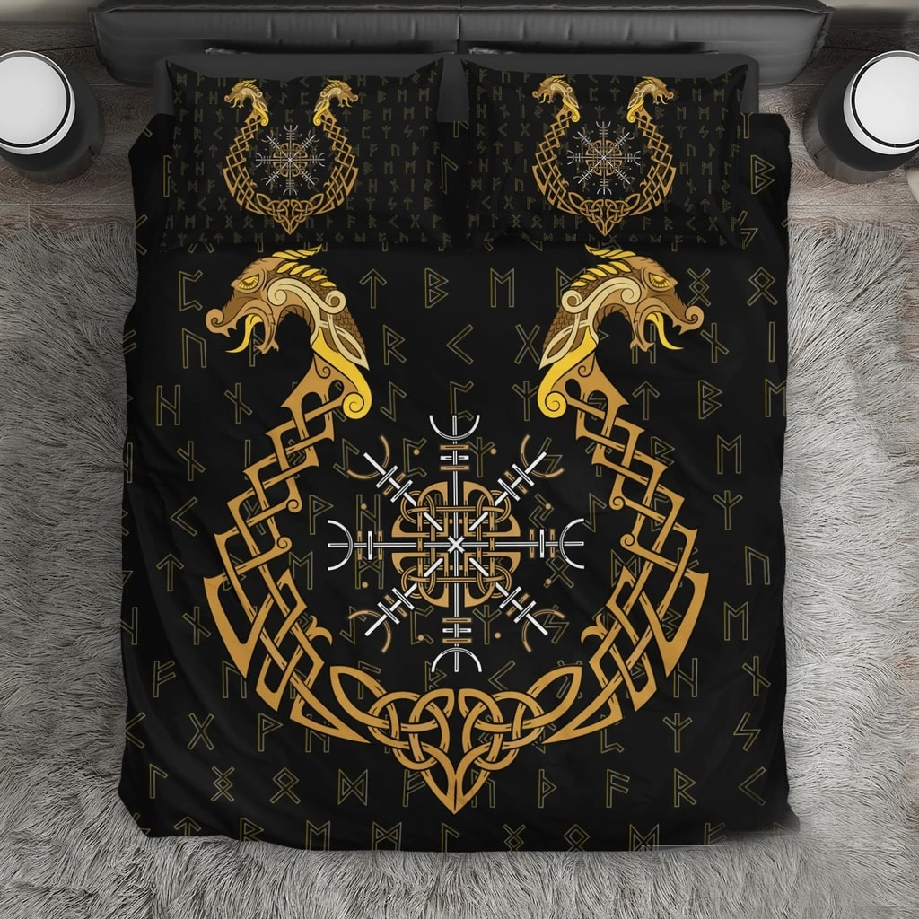 viking helm of awe all over printed bedding set 3
