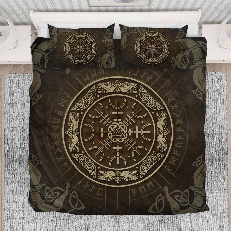 viking helm of awe rune symbols all over printed bedding set 3