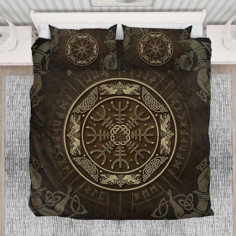 viking helm of awe rune symbols all over printed bedding set 5