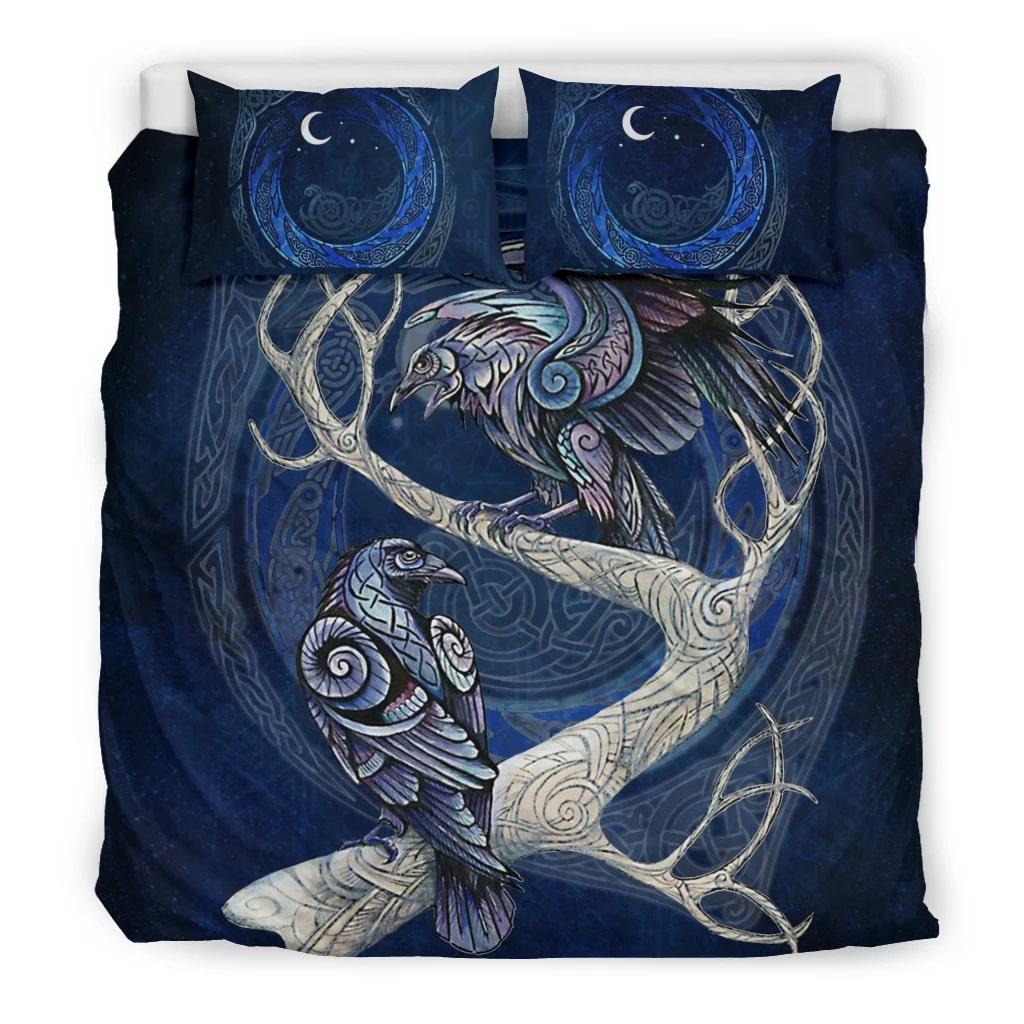 viking muninn and huginn all over printed bedding set 3