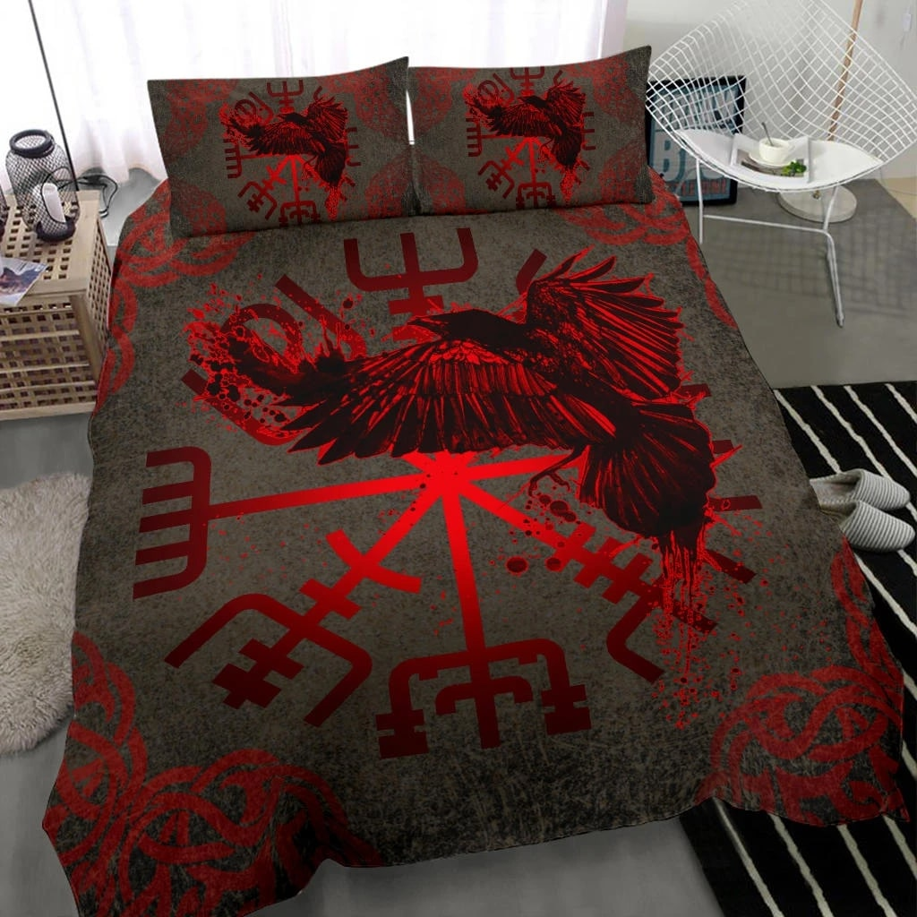 viking muninn vegvisir all over printed bedding set 2