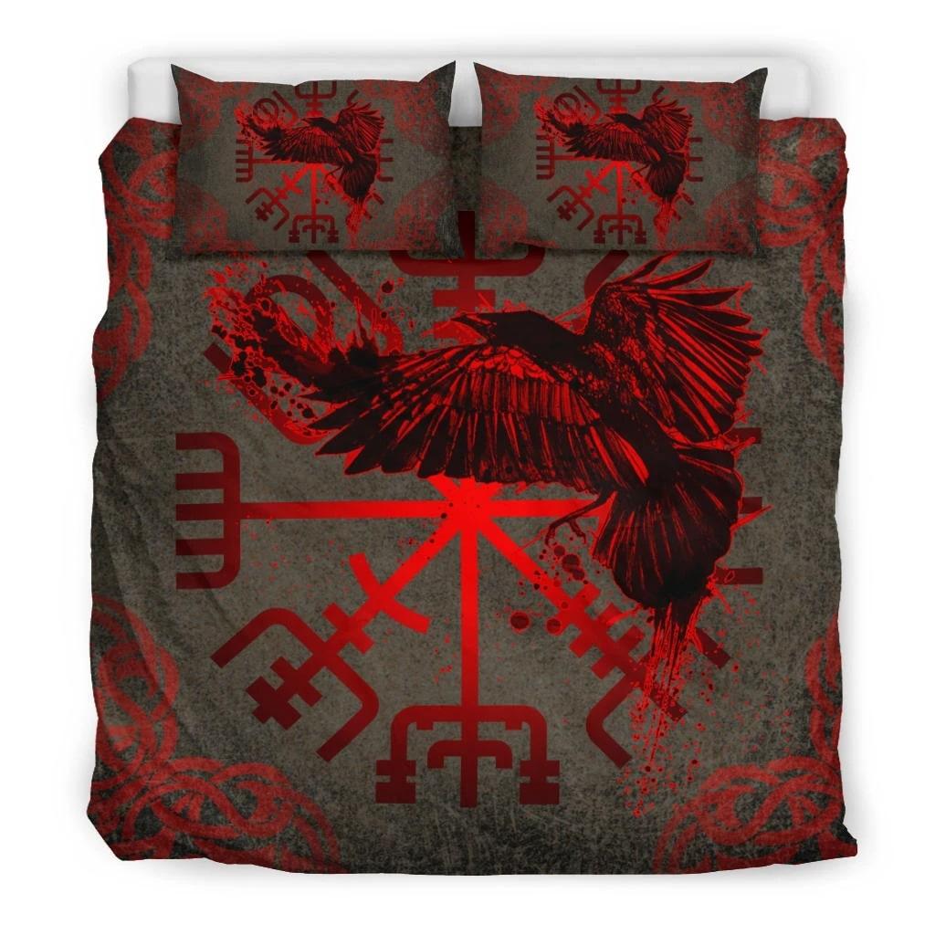 viking muninn vegvisir all over printed bedding set 5