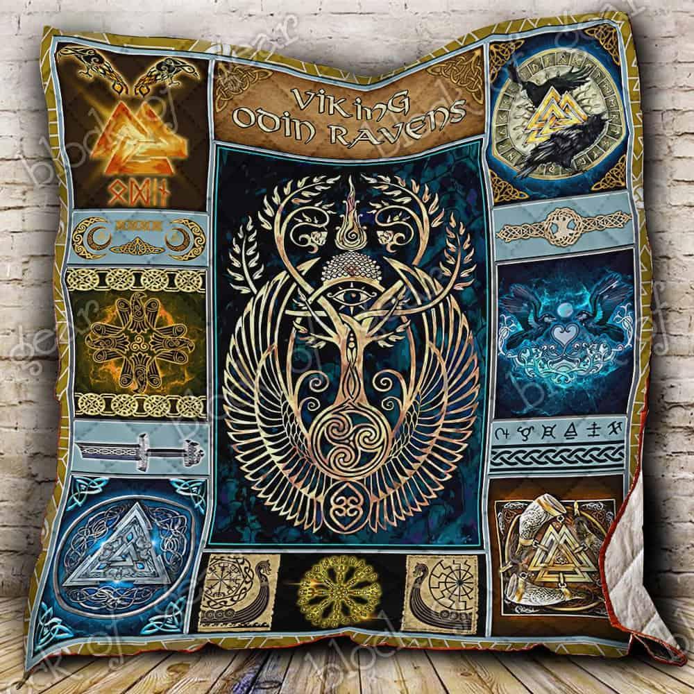 viking odin ravens all over print quilt 2