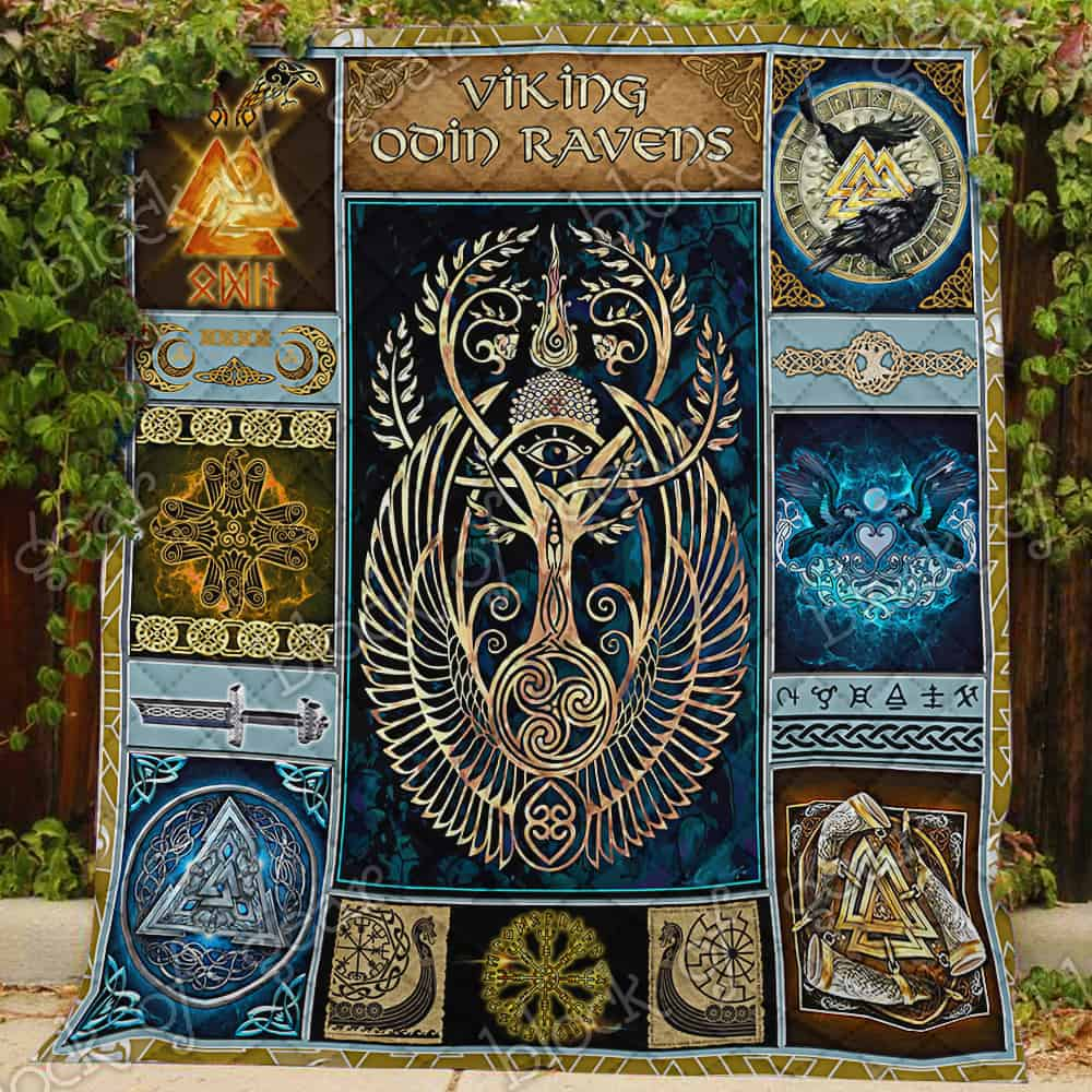 viking odin ravens all over print quilt 3