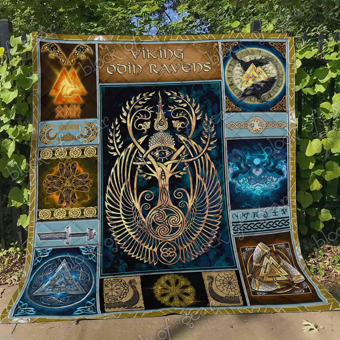 viking odin ravens all over print quilt 4