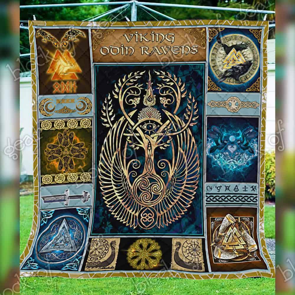 viking odin ravens all over print quilt 5