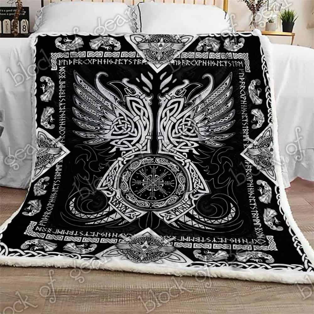 viking odins ravens all over printed blanket 2