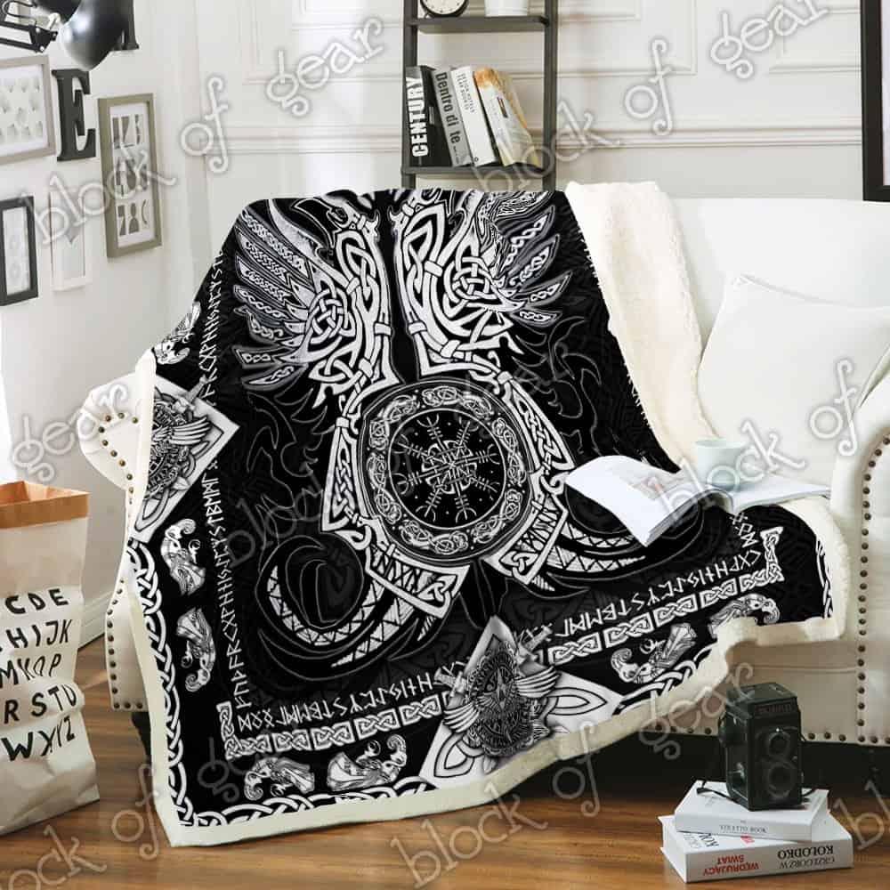 viking odins ravens all over printed blanket 3