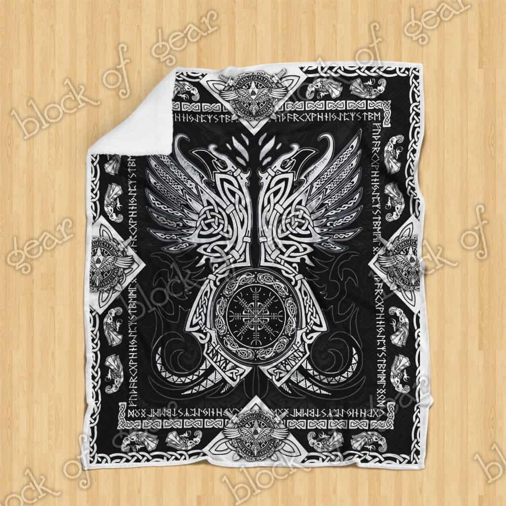 viking odins ravens all over printed blanket 4