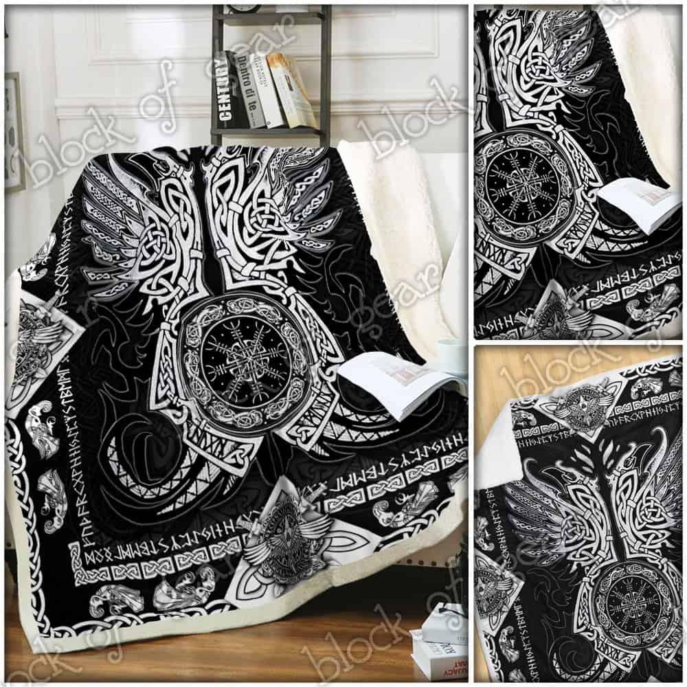 viking odins ravens all over printed blanket 5