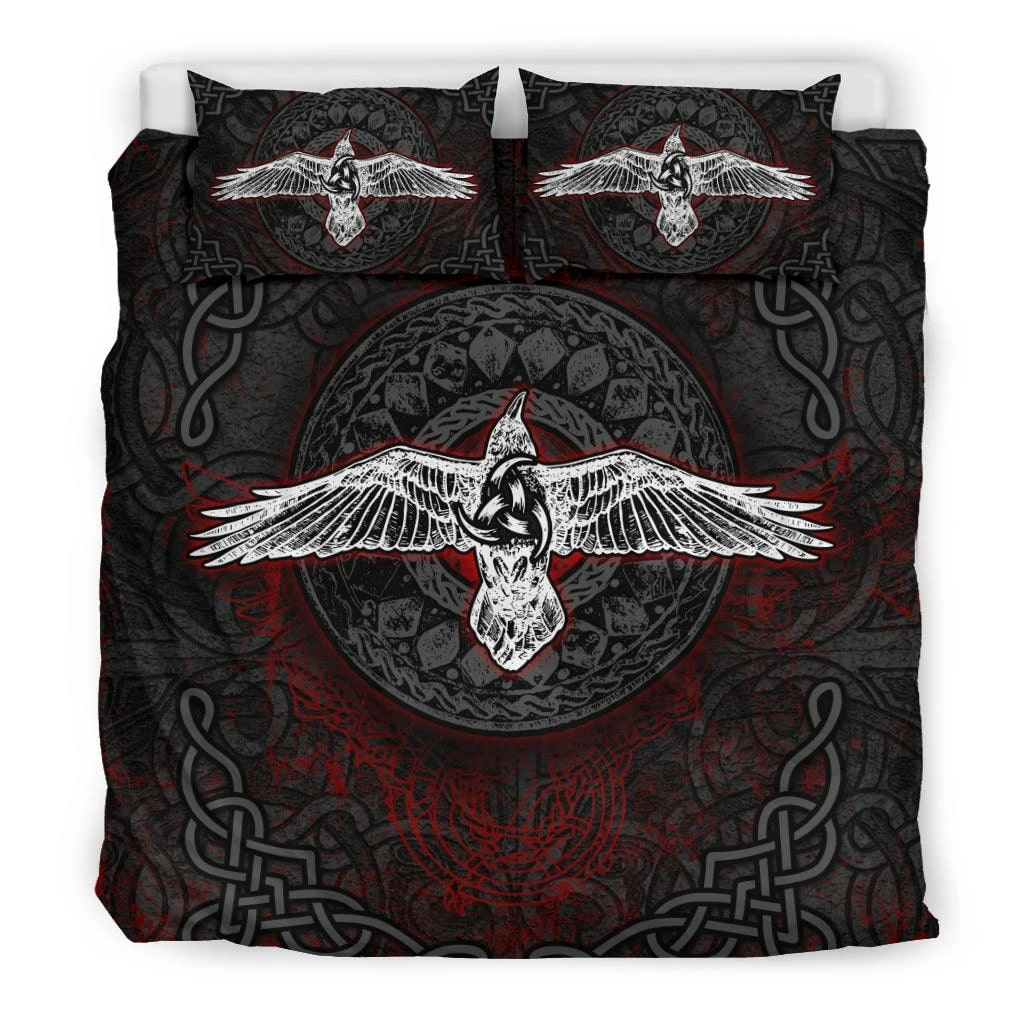 viking raven all over printed bedding set 3