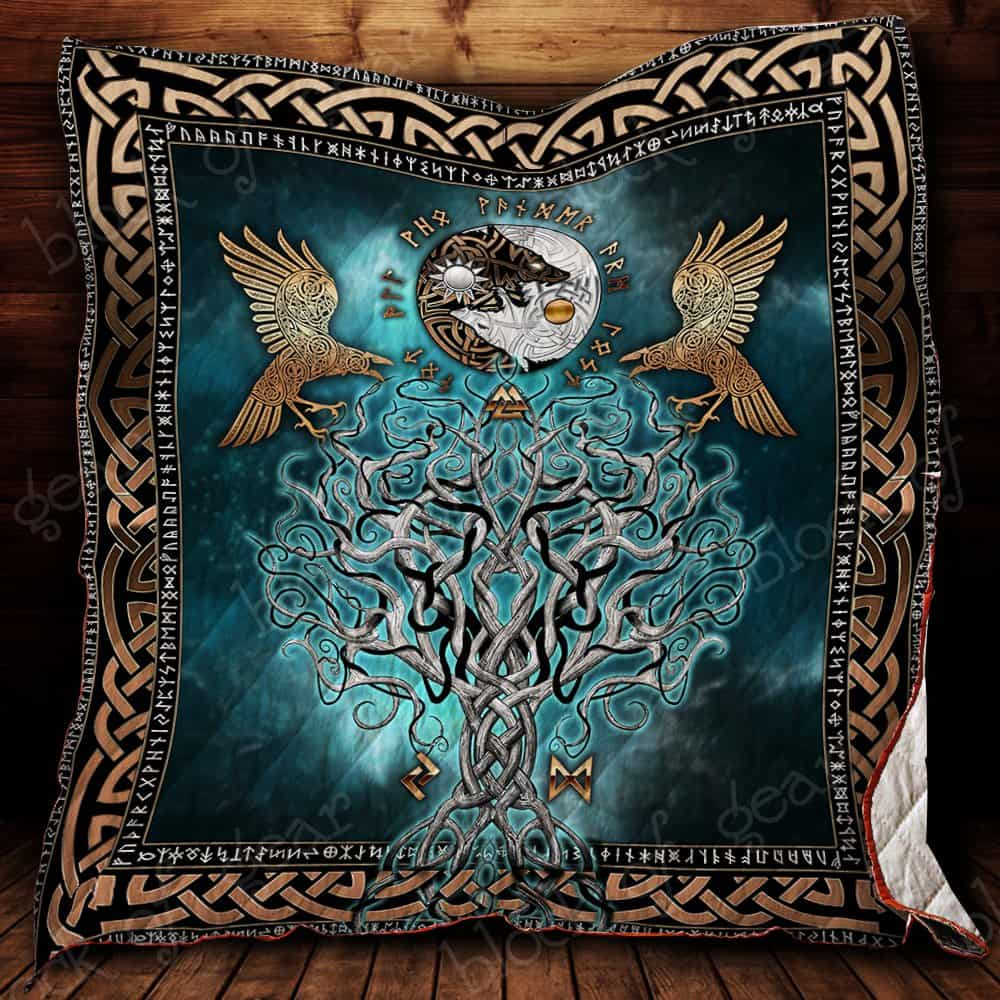 viking raven and wolf symbol all over printed quilt 2