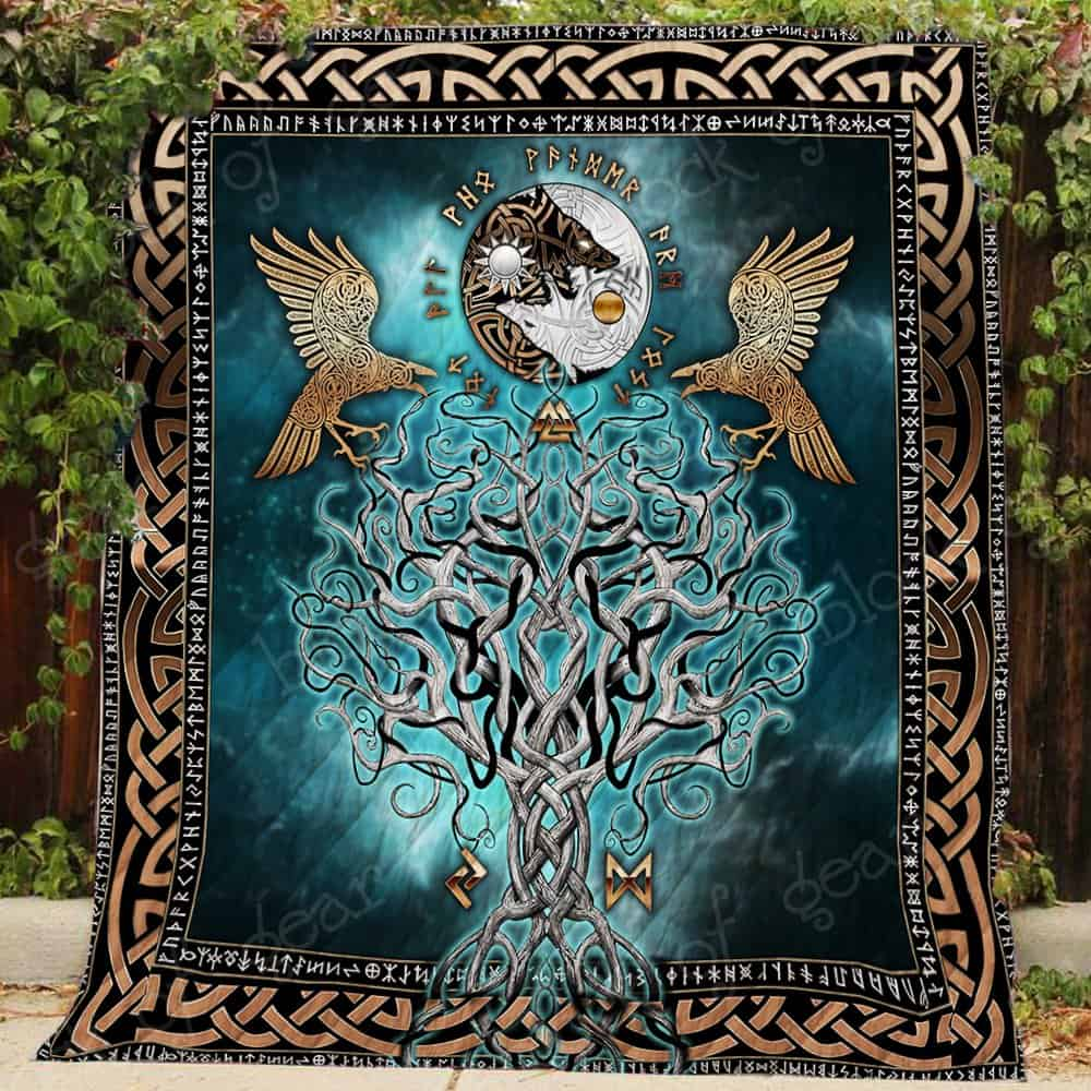 viking raven and wolf symbol all over printed quilt 3