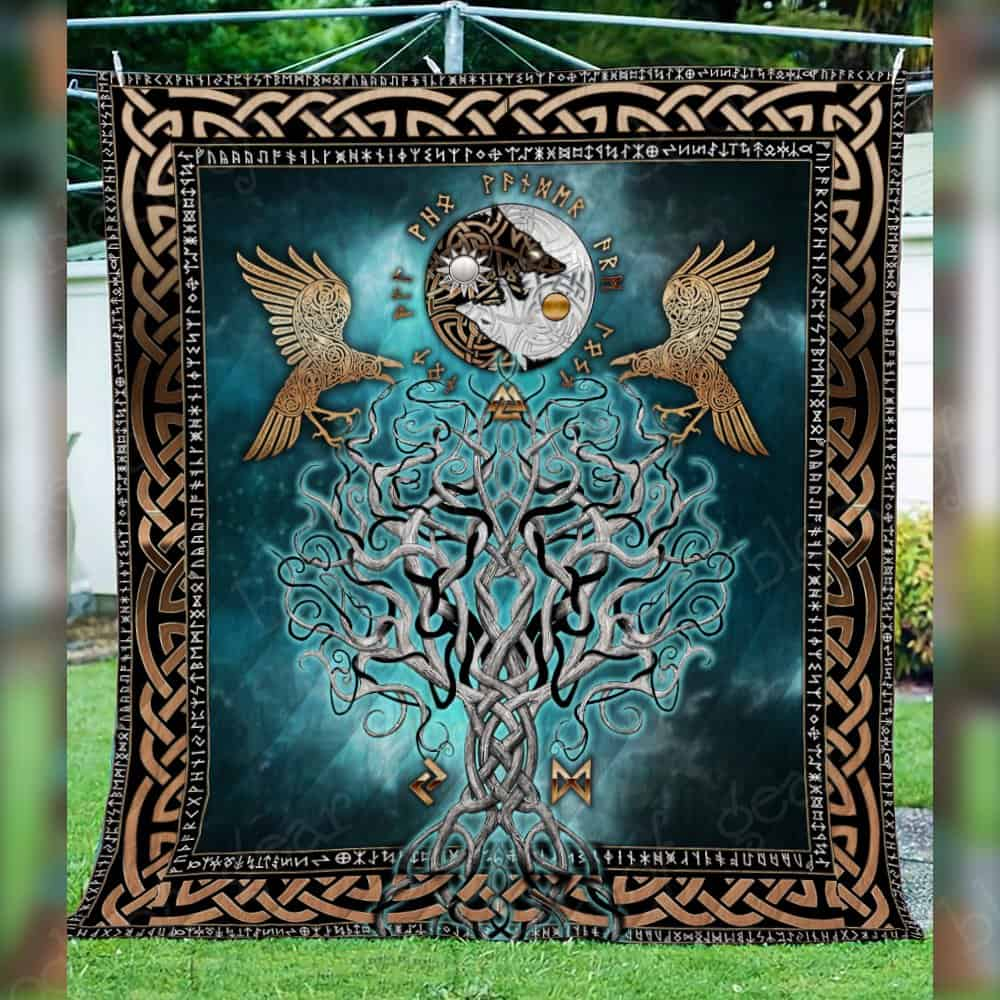 viking raven and wolf symbol all over printed quilt 4